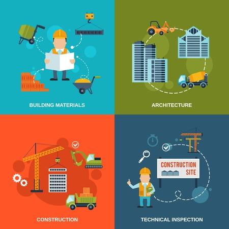 Construction icônes plates fixées à l'architecture des matériaux de construction inspection technique vecteur isolé illustrations