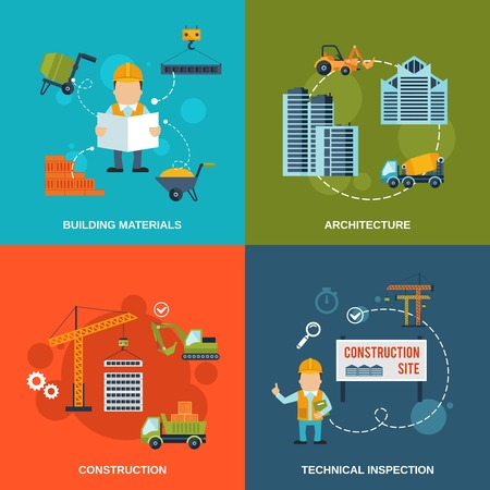 Construction flat icons set with building materials architecture technical inspection isolated vector illustration Illustration