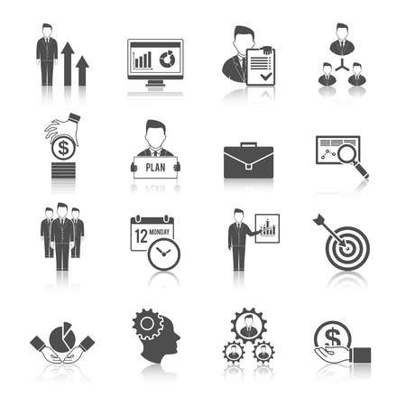 effective: Management business growth effective team black icon set isolated vector illustration