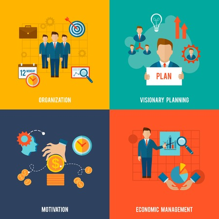 community service: Management design concept set with organization visionary planning motivation flat icons isolated vector illustration