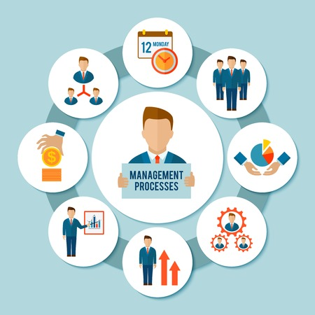 design visionary: Management process concept with effective business flat icons set vector illustration Illustration