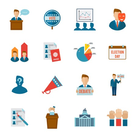 politics: Election political and government voting process icon flat set isolated vector illustration