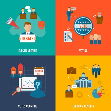 election debate: Election design concept set with votes counting flat icons isolated vector illustration Illustration