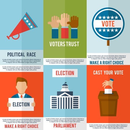 debate: Election voting and debate mini poster set isolated vector illustration Illustration