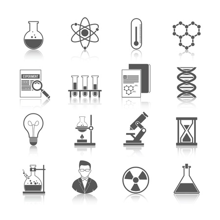 Chemistry icons black set with molecule structure microscope radiation warning sign isolated vector illustration