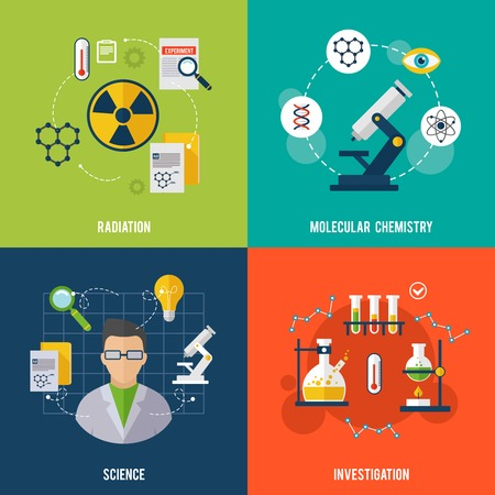 science and technology: Chemistry design concept set with radiation science investigation flat icons isolated vector illustration