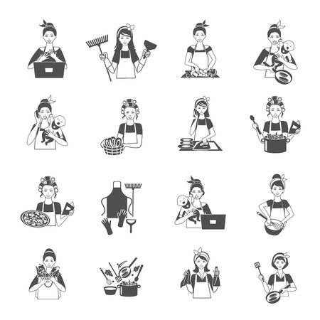 washing clothes: Housewife woman domestic life black icons set isolated vector illustration