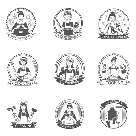 chore: Housewife black label set with buying products cooking raising children isolated vector illustration
