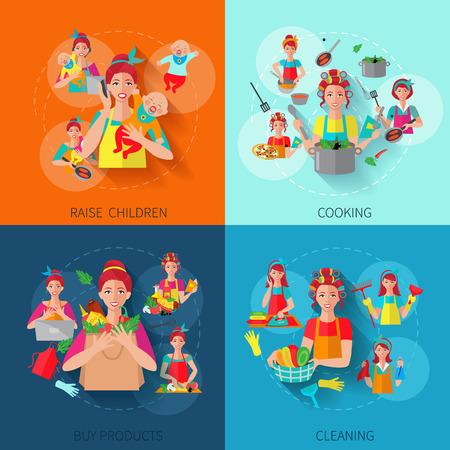 productos de limpieza: Conceptos de dise�o del ama de casa con ni�os plantean cocinar compran productos de limpieza iconos planos aislados ilustraci�n vectorial
