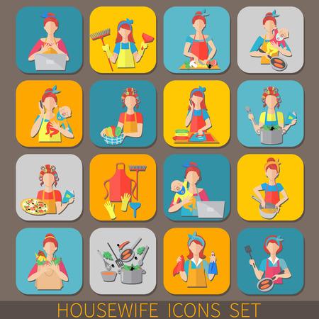 icônes Housewife fixés avec les femmes qui font le nettoyage des travaux de ménage isolé cuisine illustration vectorielle