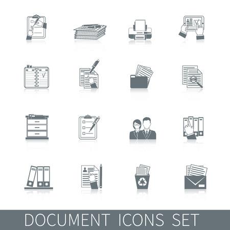 Document kantoor archief controle papieren documentatie pictogram zwart set geïsoleerd vector illustratie