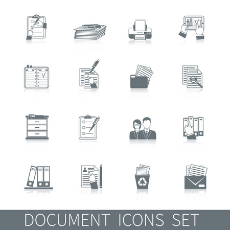 pen and paper: Document office archive control paper documentation icon black set isolated vector illustration Illustration
