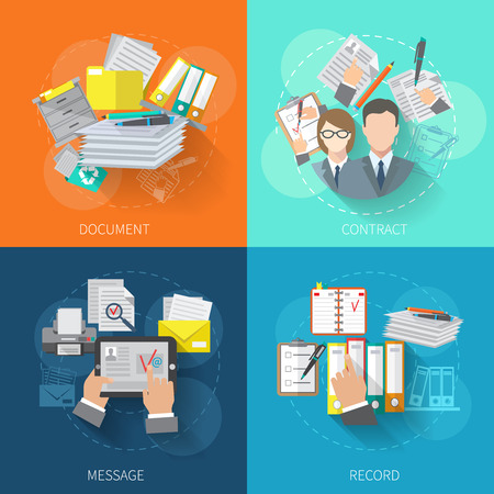 Document design concept set with contract message record flat icons isolated vector illustration Çizim