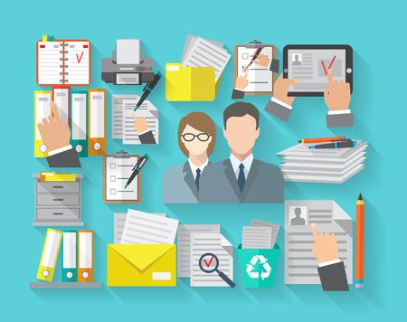 Concepto de documentación con los trabajadores de oficina y archivo organizar los iconos planos establecer ilustración vectorial