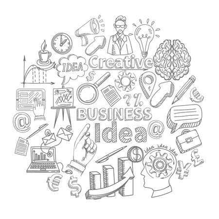 Creatieve zakelijke idee concept met schets creativiteit decoratief pictogrammen instellen vector illustratie