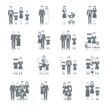 black family: Family icon black set with loving couple male and female friends characters isolated vector illustration