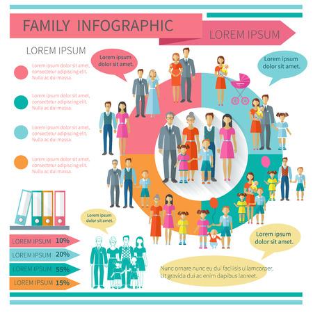 Familie infographics set met grafieken en ouder en kinderen elementen vector illustratie Stock Illustratie