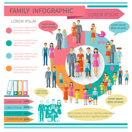Family infographics set with charts and parent and children elements vector illustration Çizim