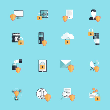 social security: Information security online data secure transfer and hosting icon flat set isolated vector illustration