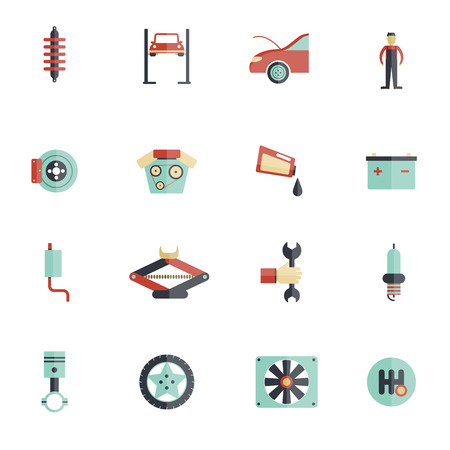 auto filter: Auto service flat icon set with mechanic tools automobile maintenance symbols isolated vector illustration