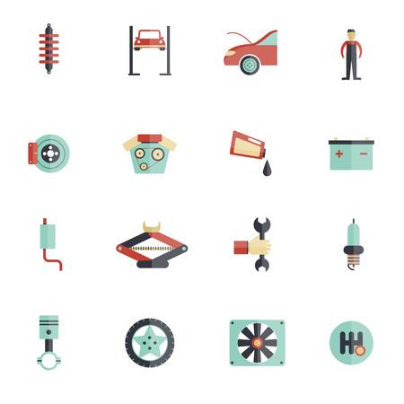 maintenance: Auto service flat icon set with mechanic tools automobile maintenance symbols isolated vector illustration