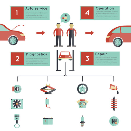 guideline: Auto service guideline infographics set with automobile maintenance elements vector illustration Illustration