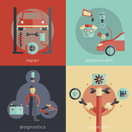 auto filter: Auto service design concepts set with repair replacement diagnostics inspection isolated vector illustration