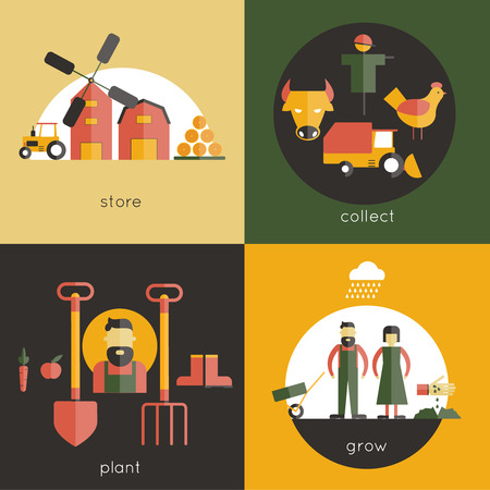 collect: Farm design concept set with store collect plant grow flat icons isolated vector illustration Illustration