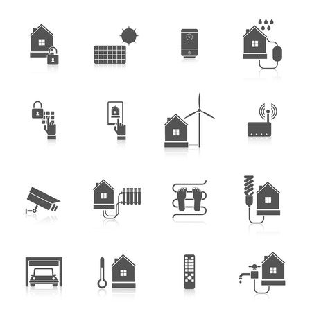 Smart home eco tech system security facilities icon set isolated vector illustration Vector