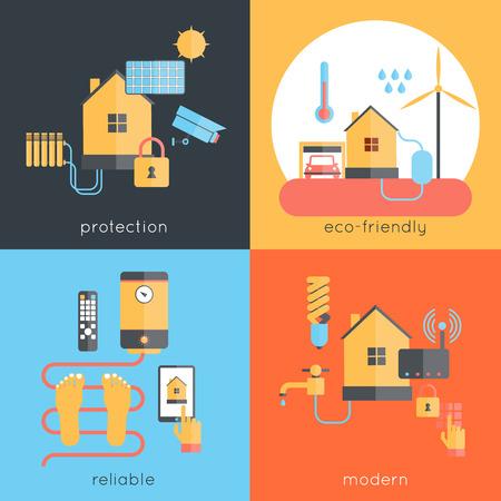 monitoreo: Concepto de dise�o de casa inteligente configurado con iconos planos protecci�n ecol�gicos fiables modernos aislados ilustraci�n vectorial