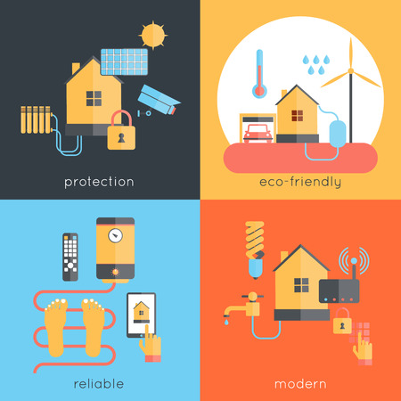 monitoring: Smart home design concept set with protection eco-friendly reliable modern flat icons isolated vector illustration