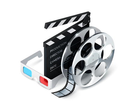 Cinema concept realistic with 3d glasses film strip clapper decorative icons vector illustration Vector