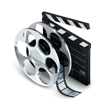 Cinema concept realistic with clapboard and film reel 3d vector illustration Vector
