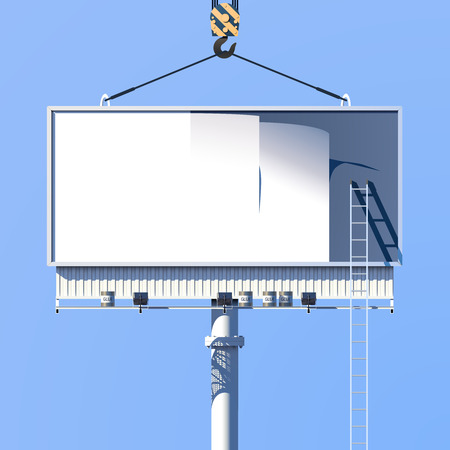 display advertising: Outdoor construction of marketing information advertising billboard on blue background poster vector illustration