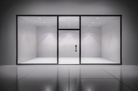 Empty illuminated store exposition interior realistic background vector illustration Vettoriali