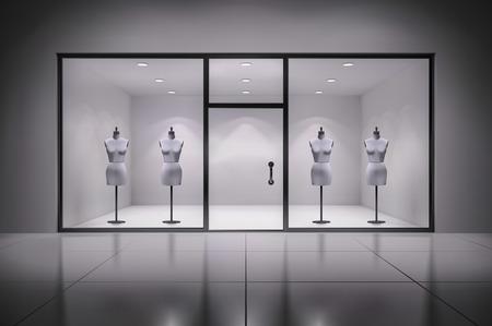 showcase interior: Realistico negozio 3d vetrina interna con manichini sfondo illustrazione vettoriale