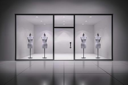 Realistic 3d store showcase interior with mannequins background vector illustration