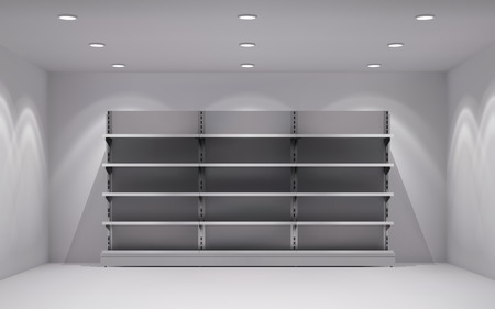 shelf: Realistic 3d store interior with empty shelves in lamp spotlights background vector illustration