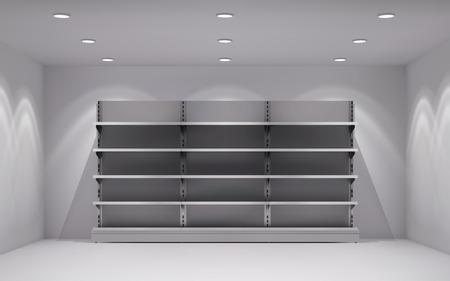 Realistische 3D-winkel interieur met lege schappen in lamp spotlights achtergrond vector illustratie