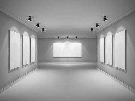 design studio: Gallery 3d realistic interior with empty picture frames in spotlights vector illustration