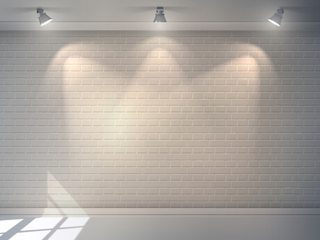 exhibitions: Realistic 3d brick wall with projectors studio interior background vector illustration