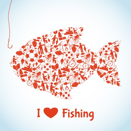 Love fishing concept with outdoor activity icons in fish shape vector illustration