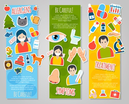 Allergies vertical banner set with allergen disease symptoms stickers isolated vector illustration