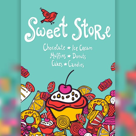 sweet: Sweet store with chocolate ice cream muffins donuts cakes and candies background vector illustration Illustration