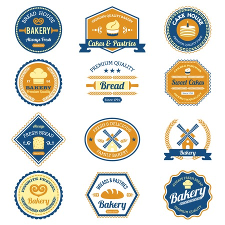 Cupcake fresh bread and premium quality pastry bakery labels set isolated vector illustration