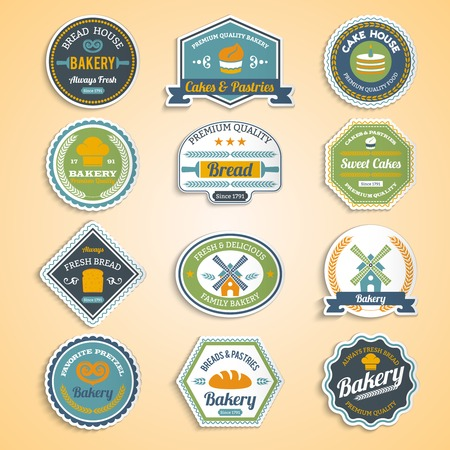 Bakery premium quality food fresh bread paper stickers set isolated vector illustration Vector