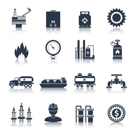 extraction: Gas icons black with flame plant storage extraction isolated vector illustration Illustration