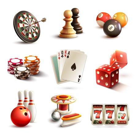 bolos: Iconos realistas juego ambientado con juegos deportivos y de ocio de casino ilustración vectorial aislado