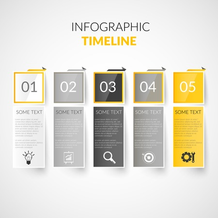 business ideas: Abstract paper timeline infographics design template with bookmarks business icons vector illustration