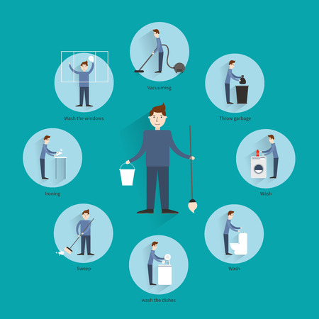 vacuuming: Cleaning concept with people vacuuming throwing garbage washing  the dishes icons vector illustration